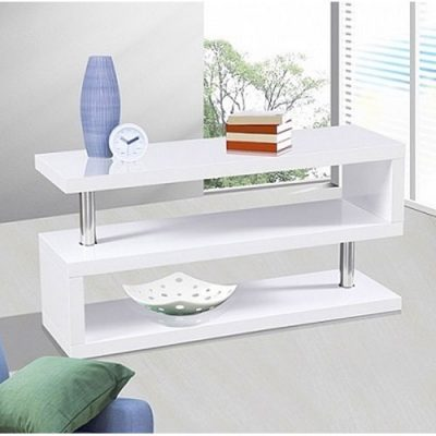 miami s shaped tv stand in high gloss white