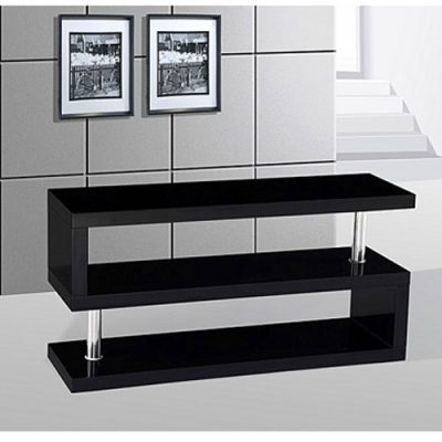 miami s shaped tv stand in high gloss black