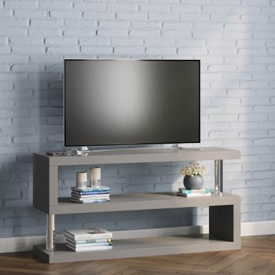 miami s shaped tv stand in grey