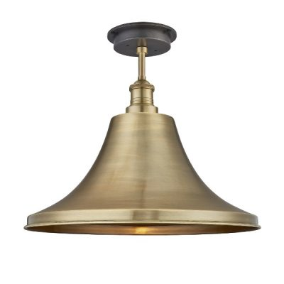 "brooklyn giant bell flush mount 20"" ceiling light in brass"