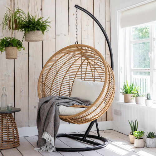 Hampstead All Weather Bamboo Hanging Nest Egg Chair ...