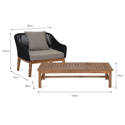 luccombe armchair set dimensions